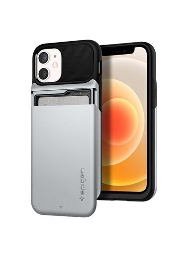 Spigen Spigen iPhone 12 Mini Kılıf, Spigen Slim Ar Wallet Gümüş